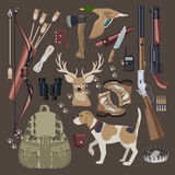Flat Hunting equipment icon set. Stock Photo