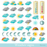 Flat hydrometeorological icons Royalty Free Stock Photo
