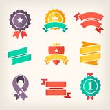 Flat ibbons and banners. Set of colorful banners for promoting products on sale. Isolated vector ribbons and paper banners Stock Image