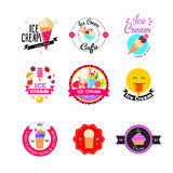 Flat ice cream stickers Royalty Free Stock Photography