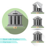Flat icom bank with oval long shadow and folded corner Royalty Free Stock Photos