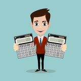 Accountant with a Calculator, Vector Illustration. Flat Icon Accountant Element. Vector Illustration Of Flat Icon Bookkeeper On Clean Background. Can Be Used As vector illustration