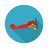 Flat icon aircraft biplane. In vector format Stock Photo