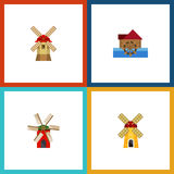 Flat Icon Alternative Set Of Watermill, Ecology, Turbine And Other Vector Objects. Also Includes Windmill, Farm, Wheel. Flat Icon Alternative Set Of Watermill Stock Photography
