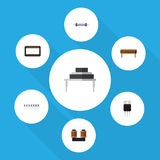 Flat Icon Appliance Set Of Destination, Coil Copper, Receiver And Other Vector Objects. Also Includes Set, Processor. Flat Icon Appliance Set Of Destination Stock Photo