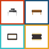 Flat Icon Appliance Set Of Destination. Microprocessor, Mainframe And Other Vector Objects Royalty Free Stock Photography