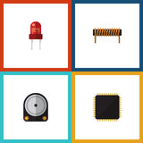 Flat Icon Appliance Set Of Hdd, Recipient, Cpu And Other Vector Objects. Also Includes Cpu, Coil, Transducer Elements. Stock Photography