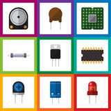 Flat Icon Appliance Set Of Hdd, Recipient, Resistor And Other Vector Objects. Also Includes Processor, Resistor, Triode Stock Photos