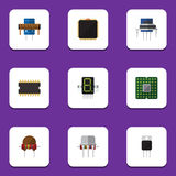 Flat Icon Appliance Set Of Microprocessor, Resistance, Resist And Other Vector Objects. Also Includes Motherboard, Cpu. Flat Icon Appliance Set Of Microprocessor Royalty Free Stock Image