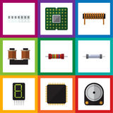 Flat Icon Appliance Set Of Resistance, Unit, Display And Other Vector Objects. Also Includes Random, Coil, Memory. Flat Icon Appliance Set Of Resistance, Unit Stock Photos