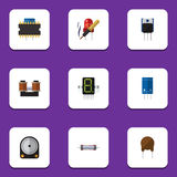 Flat Icon Appliance Set Of Resistor, Hdd, Display And Other Vector Objects. Also Includes Resistance, Resistor, Hdd Stock Images