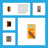 Flat Icon Approach Set Of Exit, Door, Entry And Other Vector Objects. Also Includes Approach, Frame, Door Elements. Flat Icon Approach Set Of Exit, Door, Entry Royalty Free Stock Photography