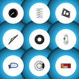 Flat Icon Auto Set Of Gasket, Windshield, Tachometr And Other Vector Objects. Also Includes Belt, Headlight, Taillight Elements. Stock Image