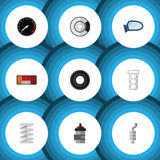 Flat Icon Auto Set Of Headlight, Packing, Auto Component And Other Vector Objects. Also Includes Brake, Engine Stock Photos