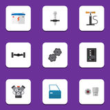 Flat Icon Auto Set Of Motor, Automatic Transmission, Belt And Other Vector Objects. Also Includes Wheel, Carrying, Pump Royalty Free Stock Image