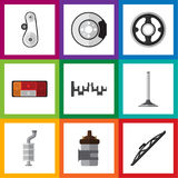 Flat Icon Auto Set Of Steels Shafts, Windshield, Headlight And Other Vector Objects. Also Includes Drive, Steel Royalty Free Stock Image