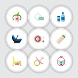 Flat Icon Baby Set Of Cream With Lotion, Feeder, Napkin And Other Vector Objects. Also Includes Pacifier, Tissue, Baby Stock Photos