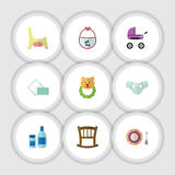 Flat Icon Baby Set Of Rattle, Stroller, Cream With Lotion And Other Vector Objects. Also Includes Pampers, Bear, Child. Flat Icon Baby Set Of Rattle, Stroller Royalty Free Stock Photos