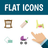 Flat Icon Baby Set Of Stroller, Infant Cot, Toilet And Other Vector Objects. Also Includes Stroller, Feeder, Pram Stock Image