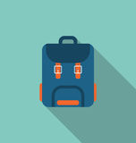 Flat Icon of Backpack with Long Shadow on blue background Royalty Free Stock Images