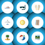 Flat Icon Beach Set Of Beach Sandals , Sunshine, Aircraft Vector Objects. Also Includes Ball, Palm, Round Elements. Stock Images
