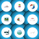 Flat Icon Beach Set Of Scuba Diving, Recliner, Deck Chair And Other Vector Objects. Also Includes Ball, Chaise, Sphere. Flat Icon Beach Set Of Scuba Diving Royalty Free Stock Images