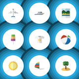 Flat Icon Beach Set Of Sundae, Sunshine, Coconut And Other Vector Objects. Also Includes Yacht, Ship, Shirt Elements. Stock Images