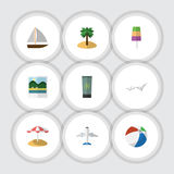 Flat Icon Beach Set Of Yacht, Reminders, Aircraft And Other Vector Objects. Also Includes Sundae, Yacht, Beach Elements. Flat Icon Beach Set Of Yacht, Reminders Stock Photo