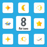 Flat Icon Bedtime Set Of Starlet, Night, Nighttime And Other Vector Objects. Also Includes Twilight, Moon, Cloud Elements. Royalty Free Stock Images