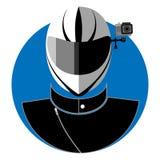 Flat icon of the biker Stock Photos
