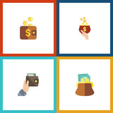 Flat Icon Billfold Set Of Pouch, Currency, Purse And Other Vector Objects. Also Includes Payment, Money, Purse Elements. Stock Photo