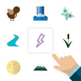 Flat Icon Bio Set Of Lightning, Bird, Peak And Other Vector Objects. Also Includes Waterfall, Reed, Grass Elements. Royalty Free Stock Photos