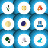 Flat Icon Bio Set Of Solar, Cascade, Lunar And Other Vector Objects. Also Includes Bird, Cascade, Tributary Elements. Royalty Free Stock Photo