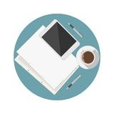 Flat icon for blogger work table Royalty Free Stock Photos