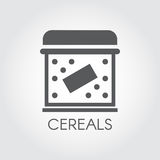 Flat icon of box for storing cereals, dry breakfast, cornflakes and other bulk products. Kitchenware labels. Cookery simplicity pictograph. Vector illustration royalty free illustration