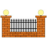 Flat icon of a brick fence with a metal grill and two flashlights vector illustration