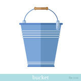 Flat icon with bucket or pail empty objects on white Stock Photos
