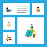 Flat Icon Building Set Of Architecture, Christian, Religious And Other Vector Objects. Also Includes Architecture, Faith Stock Photography