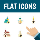 Flat Icon Building Set Of Structure, Building, Architecture And Other Vector Objects. Also Includes Religion, Christian Royalty Free Stock Photos