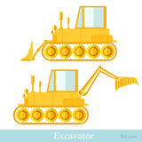 Flat icon bulldozer and loader Stock Photo