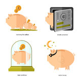 Flat icon business icon piggy bank Royalty Free Stock Photos