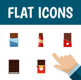 Flat Icon Cacao Set Of Chocolate Bar, Bitter, Sweet And Other Vector Objects. Also Includes Bitter, Shaped, Box Elements Royalty Free Stock Photos