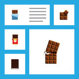 Flat Icon Cacao Set Of Dessert, Bitter, Chocolate Bar And Other Vector Objects. Also Includes Dessert, Shaped, Wrapper Royalty Free Stock Images