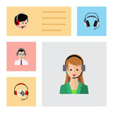 Flat Icon Call Set Of Earphone, Help, Operator And Other Vector Objects. Also Includes Help, Human, Headphone Elements. Flat Icon Call Set Of Earphone, Help stock illustration