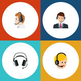 Flat Icon Call Set Of Earphone, Telemarketing, Hotline And Other Vector Objects. Also Includes Call, Human. Flat Icon Call Set Of Earphone, Telemarketing royalty free illustration