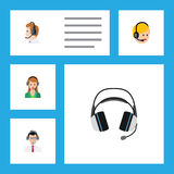 Flat Icon Call Set Of Telemarketing, Earphone, Secretary And Other Vector Objects. Also Includes Human, Help, Support. Flat Icon Call Set Of Telemarketing vector illustration