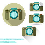 Flat icon camera object on white with oval  long shadow and folded corner Stock Photo
