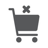 Flat icon of cancel shopping chart. Flat icon of shopping chart on white background. Vector illustration EPS 10. Cancel order Royalty Free Stock Image