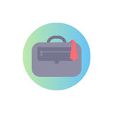 Flat icon of case and tie. Isolated modern vector illustration. Image is in circle range. Linear gradient on background Royalty Free Stock Photos