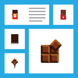 Flat Icon Chocolate Set Of Chocolate, Chocolate Bar, Dessert And Other Vector Objects. Also Includes Wrapper, Shaped Stock Photo